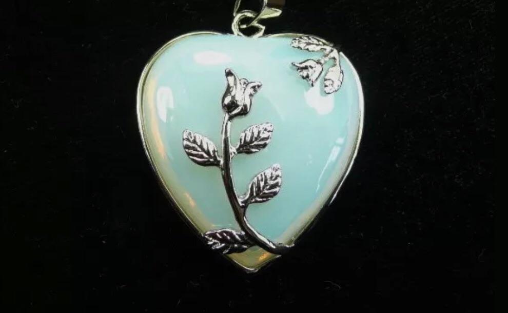 Opalite Moonstone - Heart Necklace