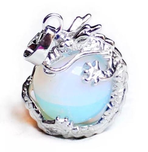 Opalite Moonstone - Dragon Necklace