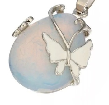 Opalite Moonstone - Butterfly Necklace
