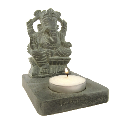 Tea-light Holder - Ganesh, Grey/Black Soapstone