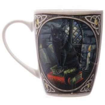 Bone China Mug - Cat on Books by Lisa Parker