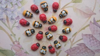 Mini Wooden Stick-on Bees & Ladybirds (10 pack)