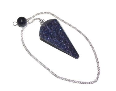 Faceted Pendulum - Blue Goldstone