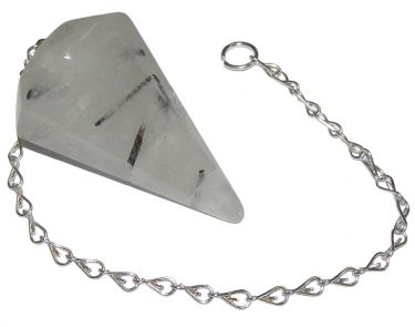 Faceted Pendulum - Tourmalated Quartz