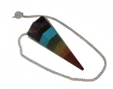 7 Chakra Bonded Faceted Point Pendulum