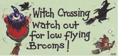 Witchy Sign - Witch Crossing Watch Out For Low Flying Brooms!