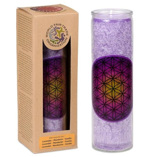 Scented candle Flower of Life purple stearin in glass
