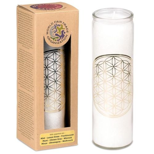Scented candle Flower of Life white stearin in glass