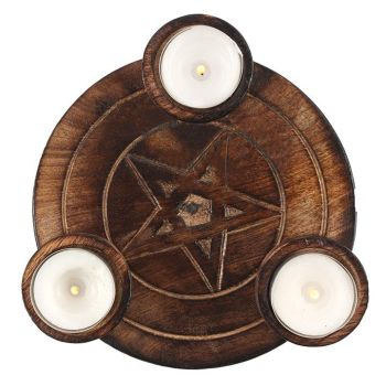 Wooden Pentagram Tealight Candle Holder