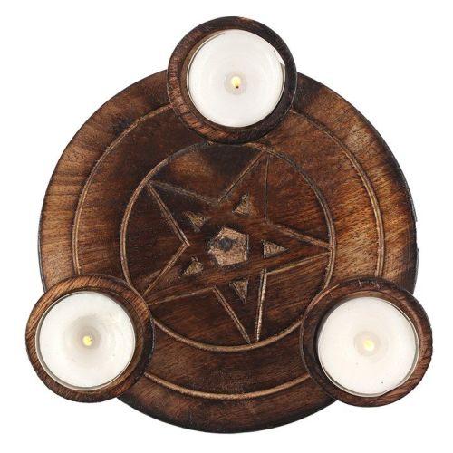 Wooden Pentagram Tealight Candle Holder