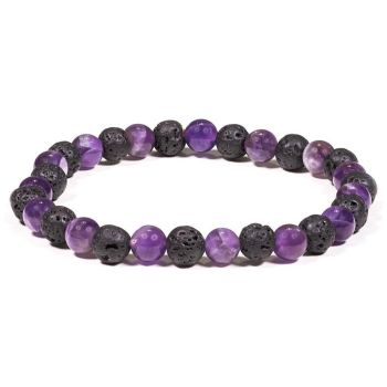 Lava Rock Diffuser Bracelet With Amethyst 6mm