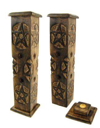 Wooden Incense Tower - Engraved Pentagram