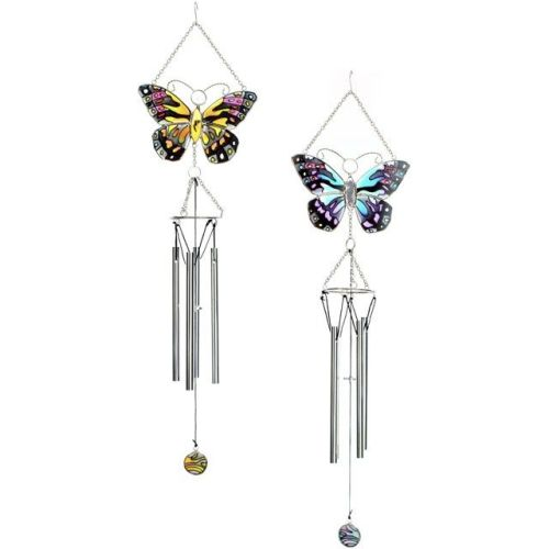 Glass Butterfly Windchime - Blue and Pink