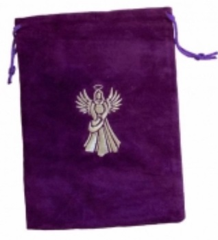 Tarot Bag - Embroidered Angel - 15cm x 20cm