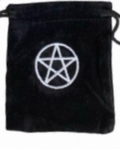 Tarot Bag - Embroidered Pentacle - 15cm x 20cm