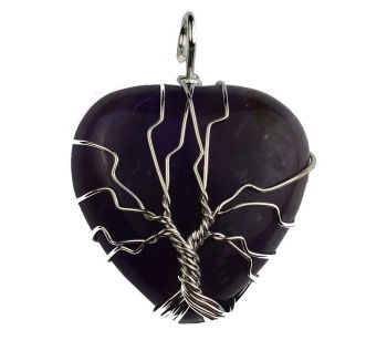 Amethyst Heart Pendant with Wired Tree of Life