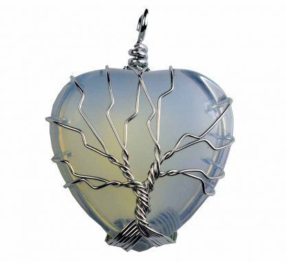 Opalite Moonstone Heart Pendant with Wired Tree of Life