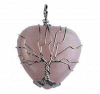 Rose Quartz Heart Pendant with Wired Tree of Life