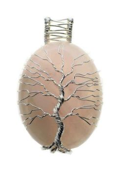 Rose Quartz Oval Pendant with Wired Tree of Life