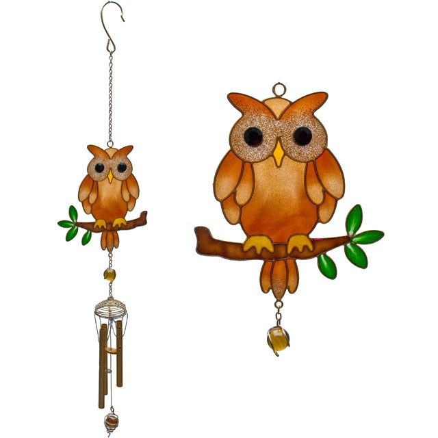Brown and Yellow Owl Windchime