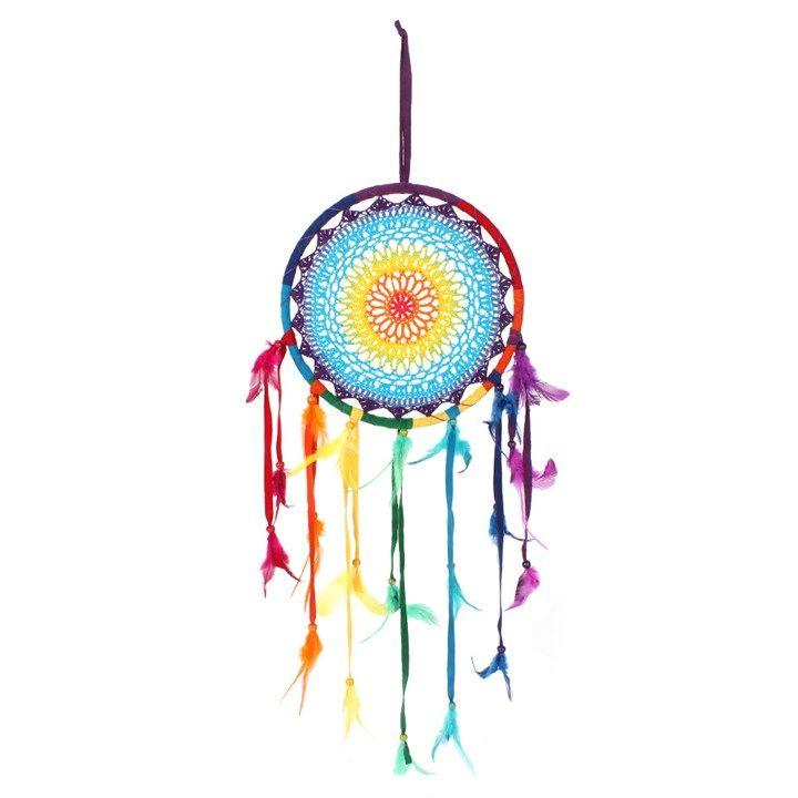 Multicolour Feather Rainbow Dreamcatcher - Medium