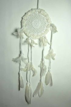 Fluffy Crochet Dreamcatcher - White 17cm