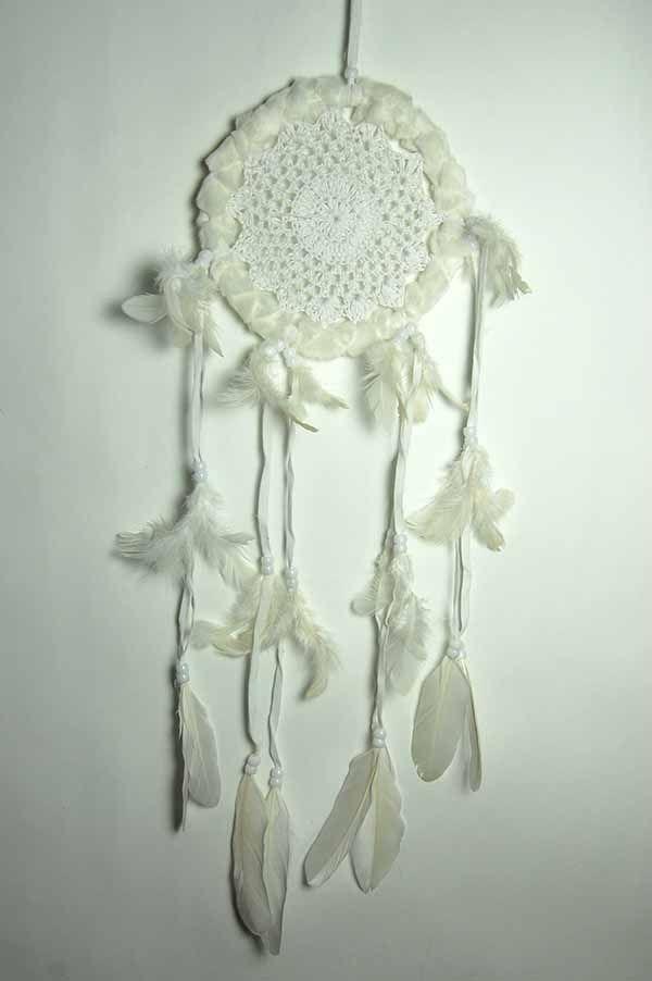Fluffy Crochet Dreamcatcher - White 17cm