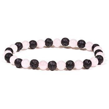Lava Rock Diffuser Bracelet With Rose Quartz 6mm