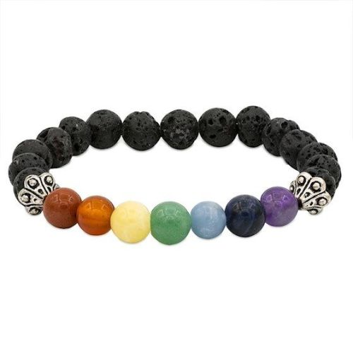 Chakra Gemstone and Lava Rock Diffuser Bracelet 8mm