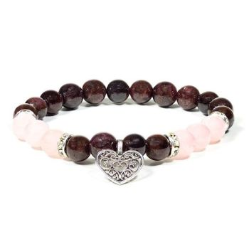 Gem Bead Garnet/Rose Quartz Bracelet with Heart