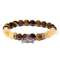 Gem Bead Tigers Eye/Rutilated Quartz Bracelet with Elephant