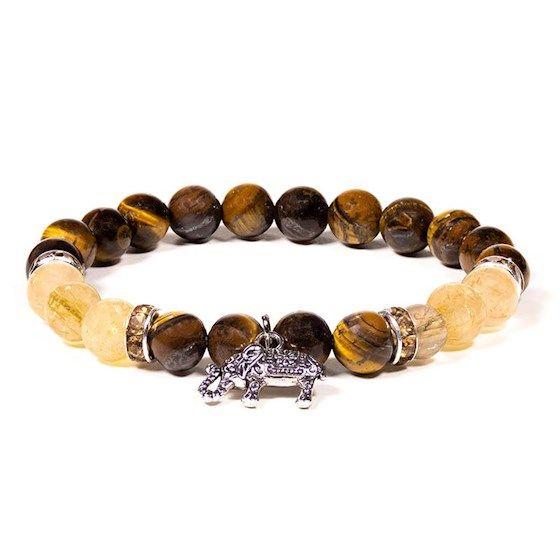 Tigers Eye/Rutilated Quartz Bracelet with Elephant