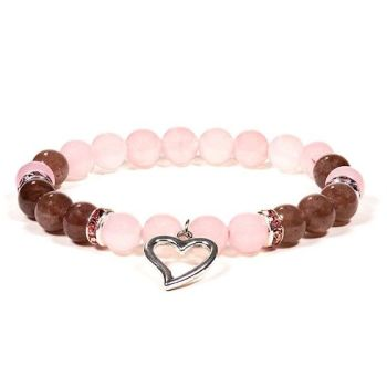 Gem Bead Rose Quartz/Strawberry Quartz Bracelet with Heart