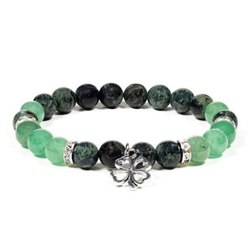 Gem Bead Kambaba Jasper/Green Aventurine Bracelet with Elephant with Clover