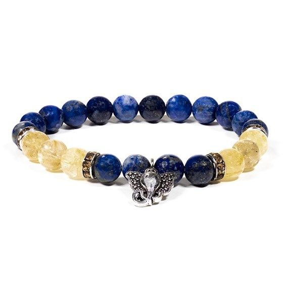 Gem Bead Lapis Lazuli/Rutilated Quartz Bracelet with Ganesh