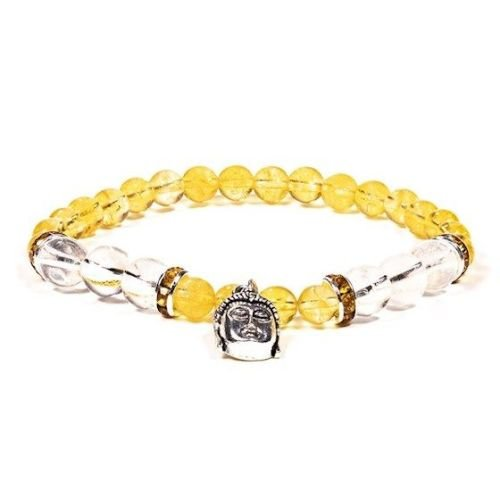 Gem Bead  Citrine/Clear Quartz Bracelet with Buddha