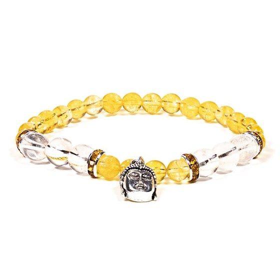 Gem Bead  Citrine/Clear Quartz Bracelet with Buddha