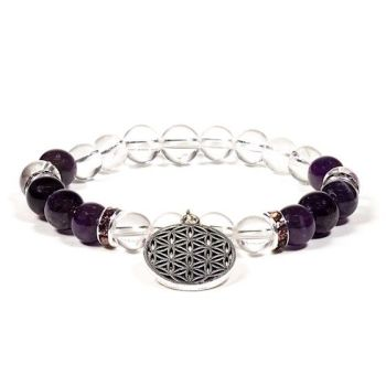 Gem Bead  Clear Quartz/Amethyst Bracelet with Flower of Life