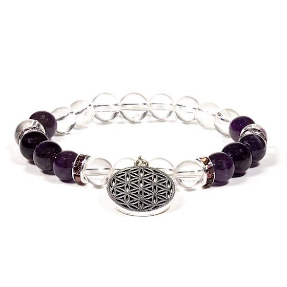 Gem Bead  Clear Quartz/Amethyst Bracelet with Flower of Life
