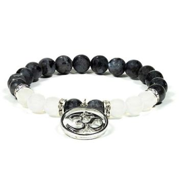 Gem Bead  Labradorite/White Agate Bracelet with Ohm