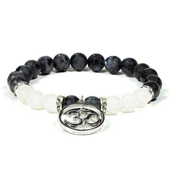 Gem Bead  Labradorite/White Agate Bracelet with Buddha