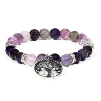 Gem Bead  Amethyst/Fluorite Bracelet with Tree of Life