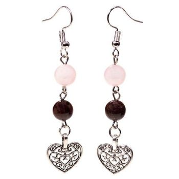 Gem Bead Garnet/Rose Quartz Earrings with Heart