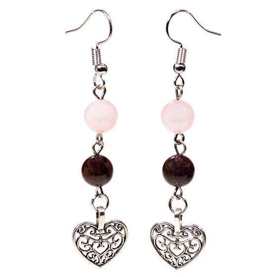 Gem Bead Garnet/Rose Quartz Earrings with Heart