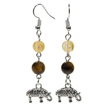Gem Bead Tigers Eye/Rutilated Quartz Earrings with Elephant