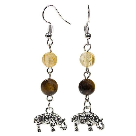 Gem Bead Tigers Eye/Rutilated Quartz Earrings with Elephant