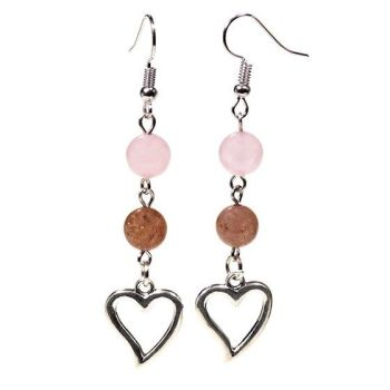Gem Bead Rose Quartz/Strawberry Quartz Earrings with Heart