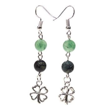 Gem Bead Kambaba Jasper/Green Aventurine Earrings with Clover