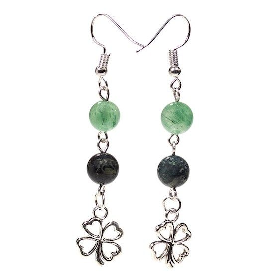 Gem Bead Kambaba Jasper/Green Aventurine Earrings with Clover