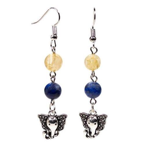 Gem Bead Lapis Lazuli/Rutilated Quartz Earrings with Ganesh